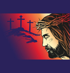 Jesus christ the son of god calligraphic text vector
