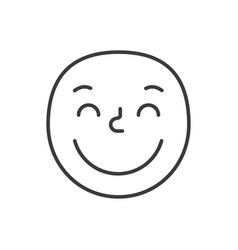 kind smile fase black and white emoji eps 10 vector image