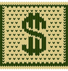 Knitted dollar green beige scheme vector