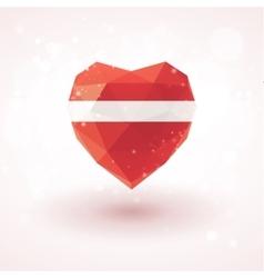 Latvian flag in shape diamond glass heart vector