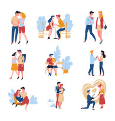 love story dating couples relationship and vector image