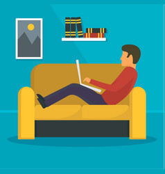 Man freelancer at sofa concept background flat vector