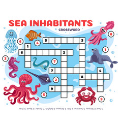 marine animals crossword composition vector image