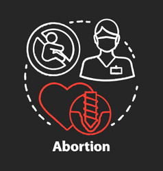 Medical abortion chalk concept icon miscarriage vector