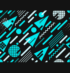 memphis seamless pattern blue color geometric vector image