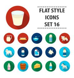 milk set icons in flat style big collection milk vector image