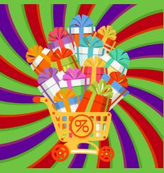 New year christmas holiday gift box shopping cart vector