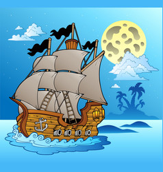 old vessel in night seascape vector image