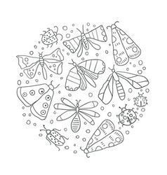 outline circle with bugs doodle art vector image