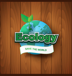 paper art and craft of ecology save the world vector image