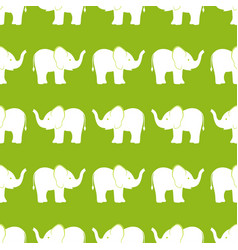 pattern with elephants on olive background vector image