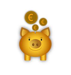 piggy bank with euro coins vector image