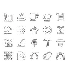 Pool equipment charcoal draw line icons set vector
