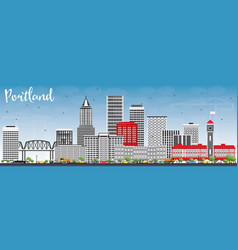 Portland skyline with gray buildings and blue sky vector