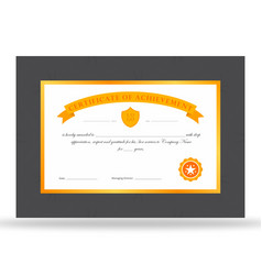 premium gold certificate of achievement vector image