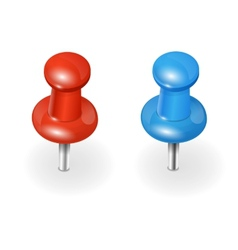 Red and blue pushpin on white background vector