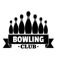 ribbon bowling club logo simple style vector image