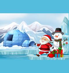 Scene with santa and snowman on christmas vector
