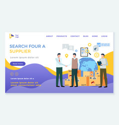 Search for supplier business concept website page vector