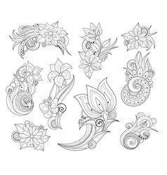 set beautiful monochrome flowers and leaves vector image