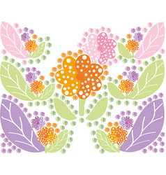set of multi colored flowers and leaves in a vector image