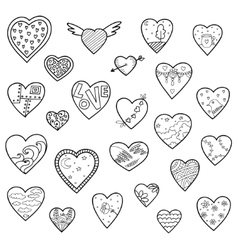 Set of sketch hearts isolated on white vector