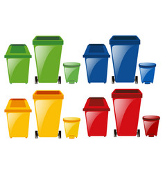 set of trashcans in different colors vector image