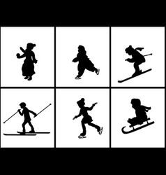 set silhouettes children on winter holidays vector image