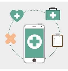 Smartphone with medicine icons vector