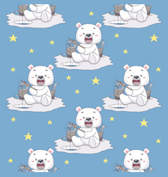 snow bear fishing in ice seamless pattern vector image