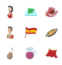 Spain icons set cartoon style vector