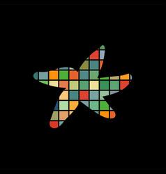 Starfish nautical color silhouette animal vector