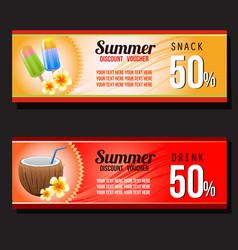 summer snack and drink discount voucher vector image