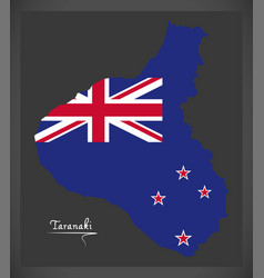 taranaki new zealand map with national flag vector image