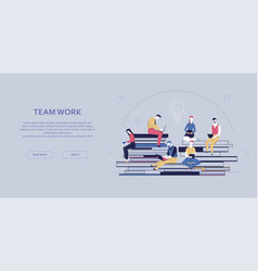 team work - flat design style colorful banner vector image