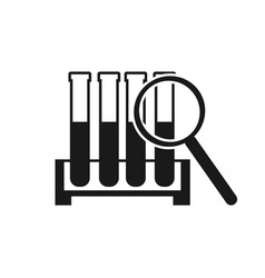 test tube search icon test tube icon in magnifier vector image