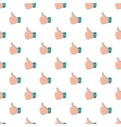 Thumb up gesture pattern cartoon style vector