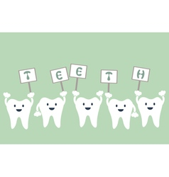 Tooth raises word sign that teeth vector