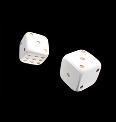 Top view of white golden dice casino white dice vector