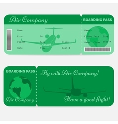 Variant of airline boarding pass Green ticket vector image