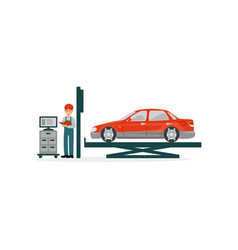 vehicle technical maintenance car mechanics vector image