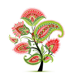 vintage magic floral tree sketch for your design vector image