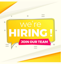 We are hiring background in yellow flat style vector