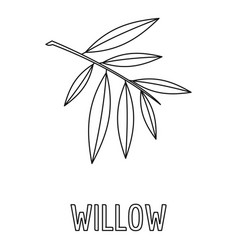 Willow branch icon outline style vector