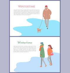 Wintertime person walking dog on leash winter vector
