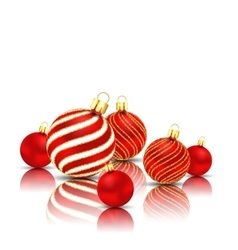 Christmas Glitter Balls with Reflection on White vector image vector image