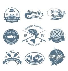 Fishing label set vector image vector image
