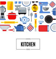 flat style kitchen utensils background vector image