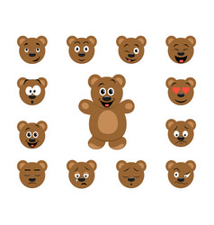 funny cartoon bear emoticon set vector image vector image