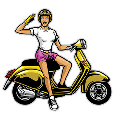 girl ride the scooter vector image vector image